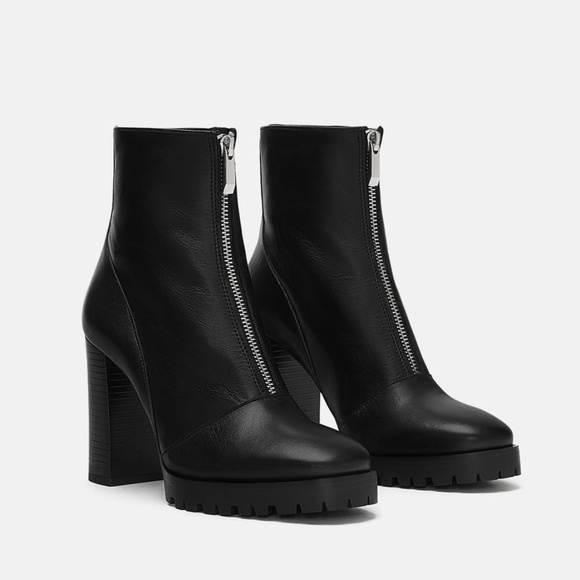 9845ed74947 Zara Shoes | Leather Track Sole Ankle Boots | Poshmark